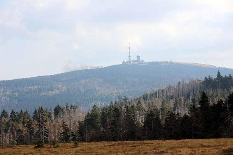 Der Dampf der Brockenbahn ist vorm Gipfel zu sehen