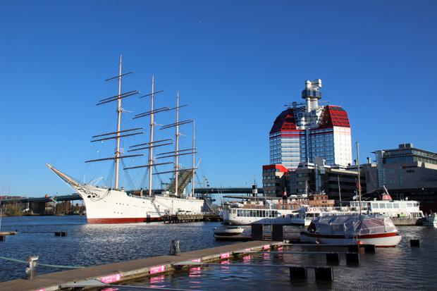 Hier in Göteborg liegt auch das größte je in Skandinavien gebaute Segelschiff die Viking