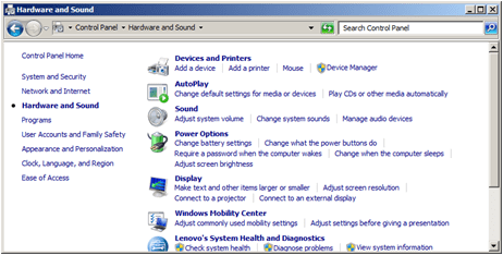 Windows 7 control panel