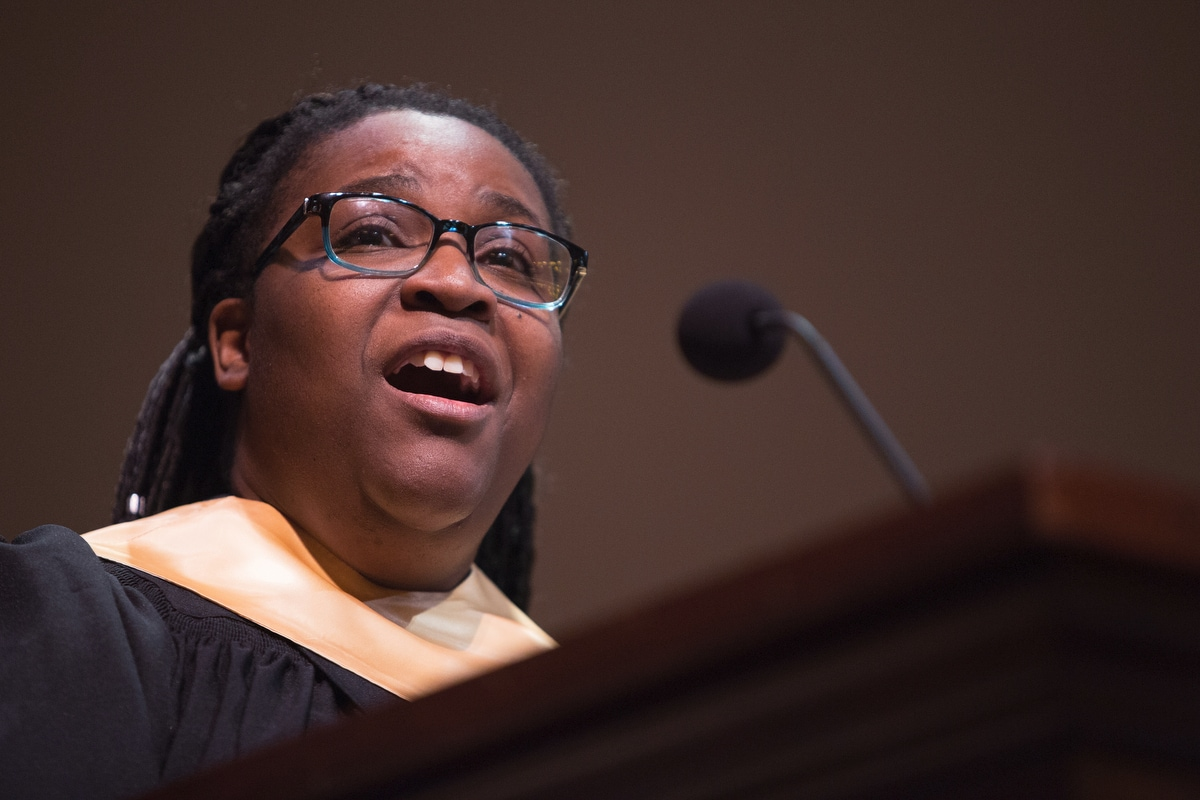 """Portia Burns sings """"O God, Our Help in Ages Past"""" during the Martin Luther King Jr. Day Convocation."""