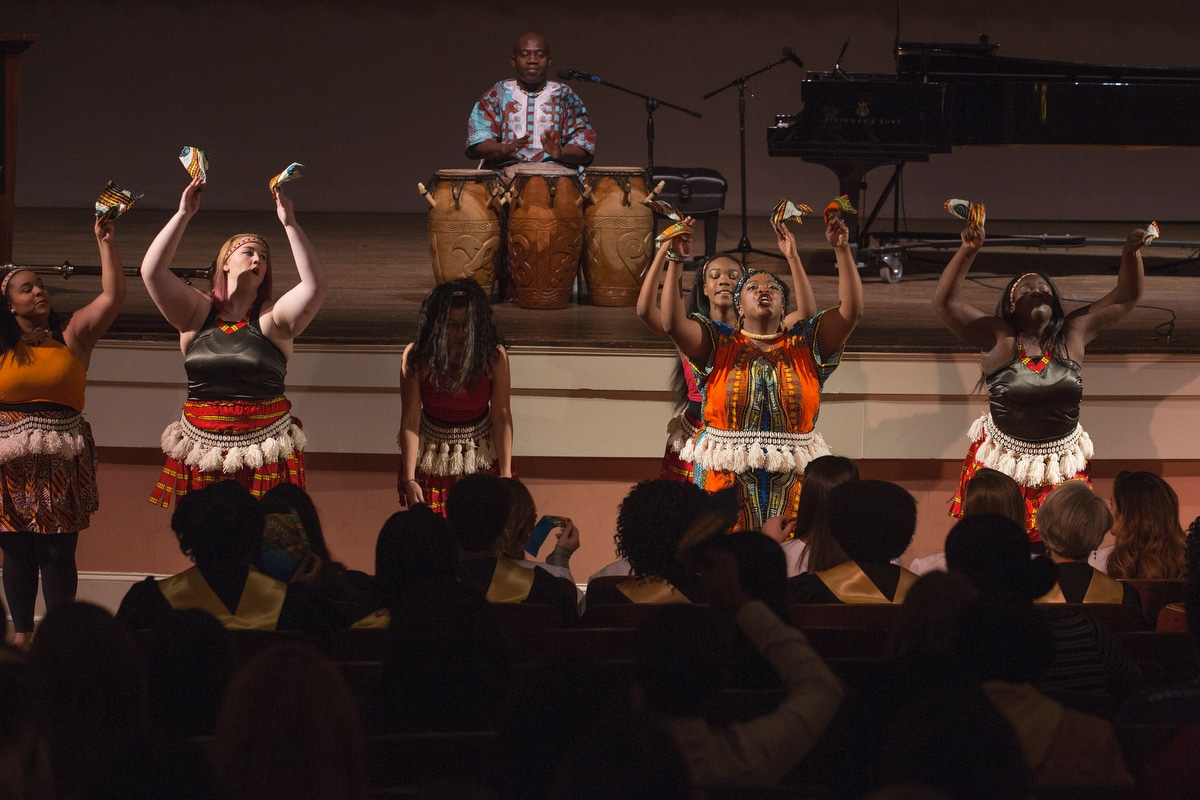 Mawre & Company, composed of Brenau students and lead by Madia Cooper-Ashirifi, visiting assistant professor of dance, performs a celebratory dance during the Martin Luther King Jr. Day Convocation.