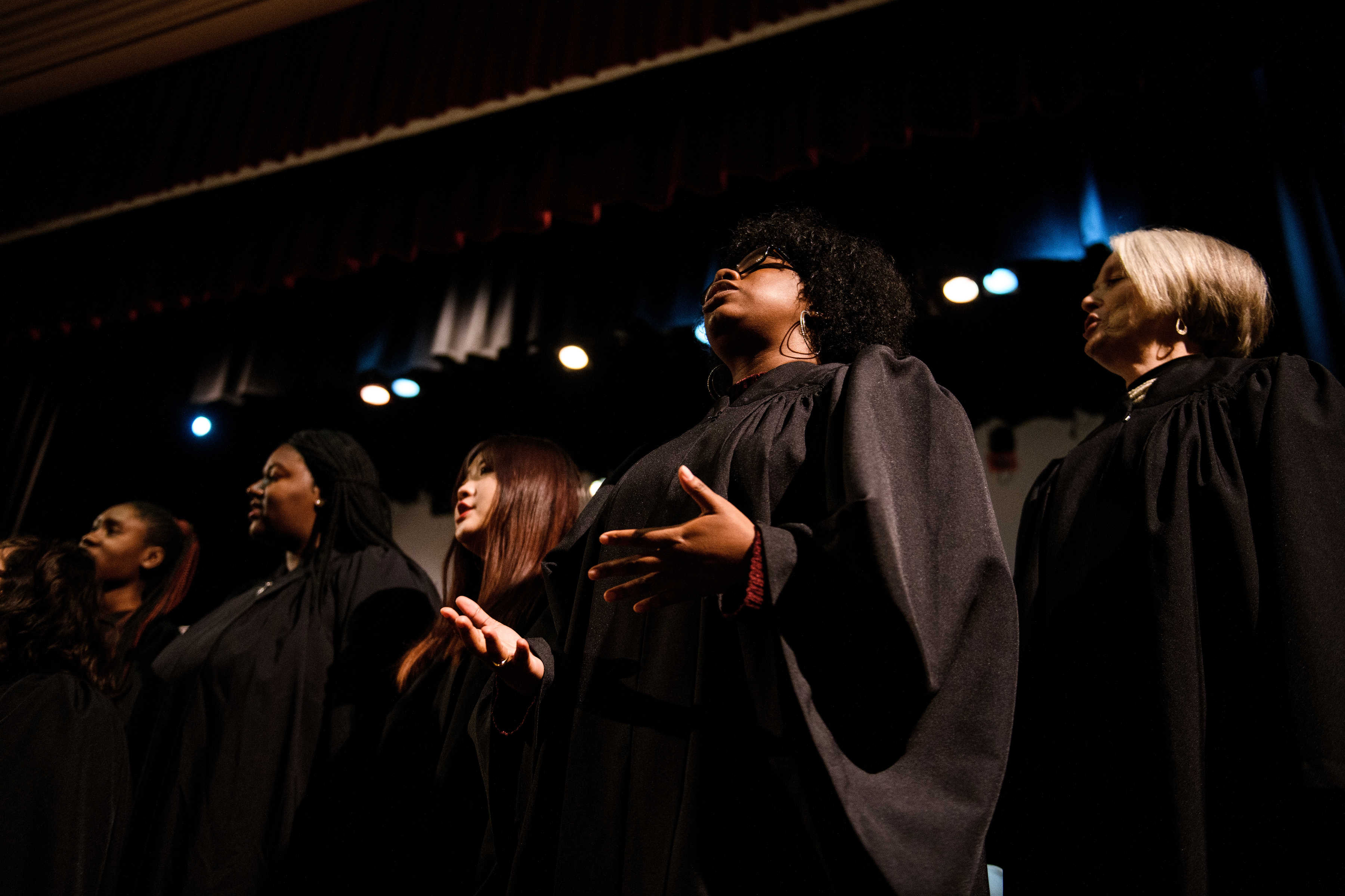 Members of the Brenau University Gospel Choir sing at the Martin Luther King Jr. Convocation.