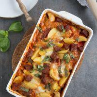 Italiaanse ovenschotel met aardappel en salami