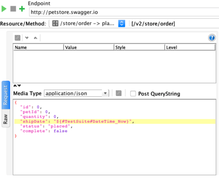 request using testsuite property