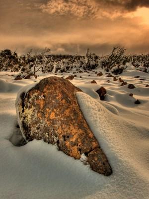 Mt Wellington Rocks in Snow