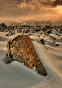 Mt Wellington Rocks in Snow