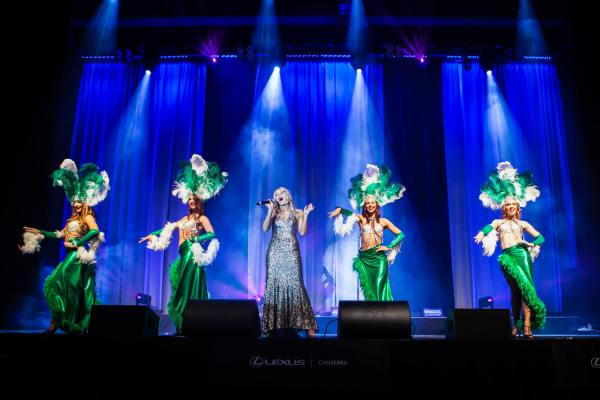 The Emeralds - the official cheer squad for the Canberra Raiders performing at the Ronald McDonald house gala ball