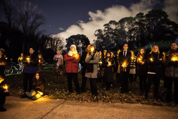 Some of the people that attended looking on at the candles situated on stage 88