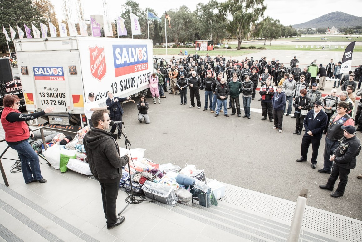 The Salvation Army ‎ Blanket ride 2015 held at the old parliment house in Canberra. It raised around $4000 from the Canberra Motorcyle community