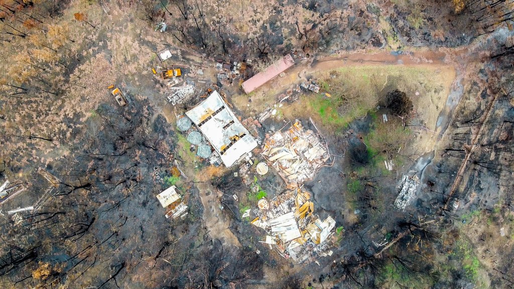 Aerial view of a house and property that was destroyed in the 2020 bush fires near Nowra