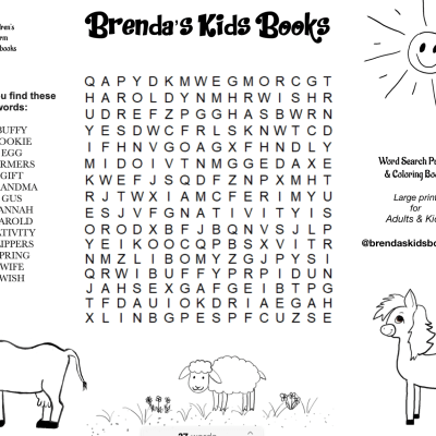 Brenda's Kids Books Word Search Coloring page with pony, cow, sheep