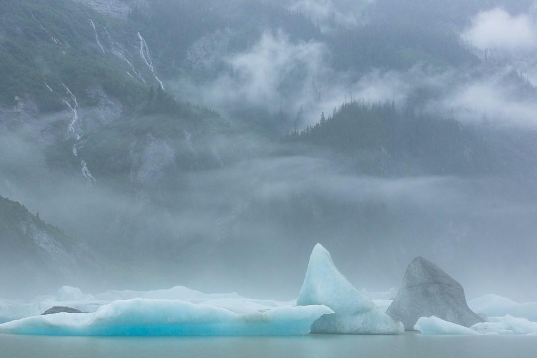 Mist, icebergs and mountains, Alaska.
