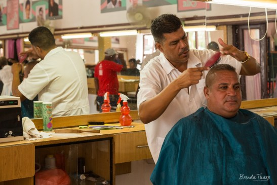 Barber brushes a man's hair, Cuba.