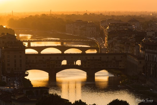 Sunset backlights the city of Florence.