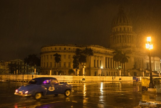 Nighttime rainstorm in downtown Havana, Cuba.