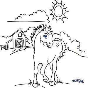 activity sheet Sugarman the Pony Brenda W Powell color paint
