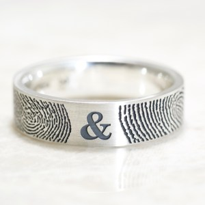 You & Me Fingerprint wedding bands in sterling silver by Brent&Jess