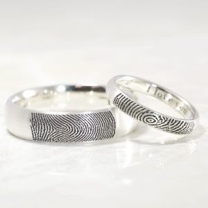 Comfort fit low dome wedding bands with your fingerprints