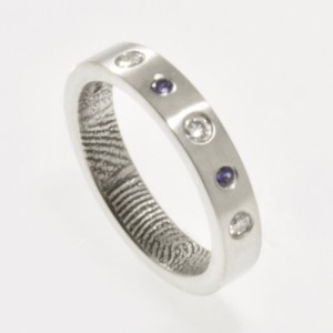 Diamond and Sapphire Fingerprint Wedding Ring in Sterling Silver