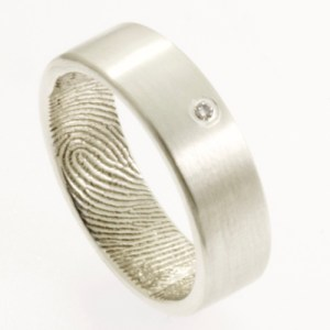 Wide Sterling Silver and Diamond Fingerprint Engagement Ring