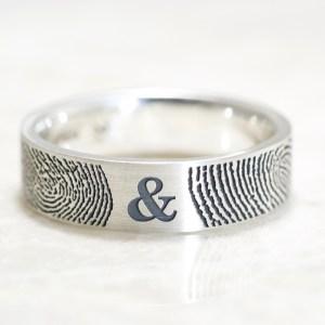 Custom You&Me Fingerprint ring in Sterling silver