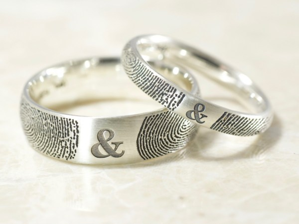 Comfort Fit Low Dome Set of You & Me Fingerprint Wedding Rings in Sterling Silver