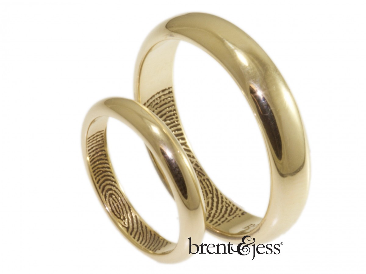14k low dome inner tip fingerprint wedding rings by Brent&Jess