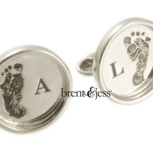 Custom Baby Feet Cufflinks in Sterling Silver