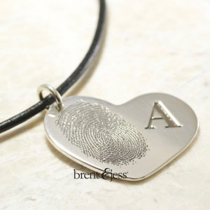 Custom FIngerprint heart necklace with monogram by Bretn&Jess