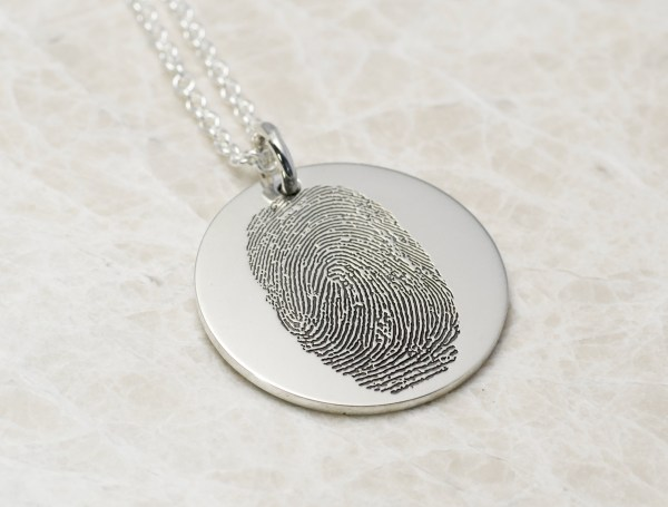 once inch sterling silver fingerprint necklace