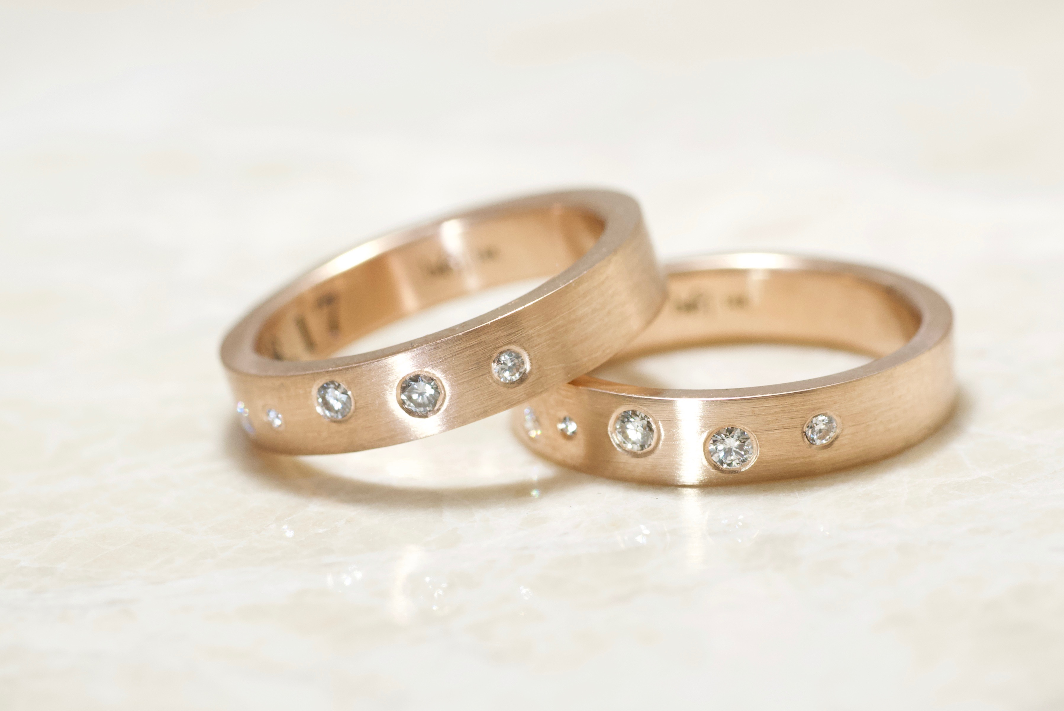 14k rose 4mm diamond scatter fingerprint rings by Brent&Jess