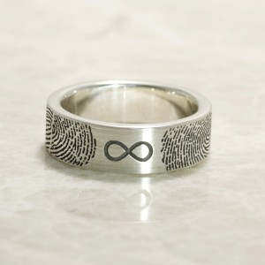 You&Me For Infinity Comfort Fit Flat Sterling Silver Wedding Band