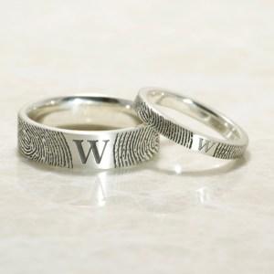 Set of You and Me Monogram Comfort Fit Fingerprint Wedding Bands in Sterling Silver