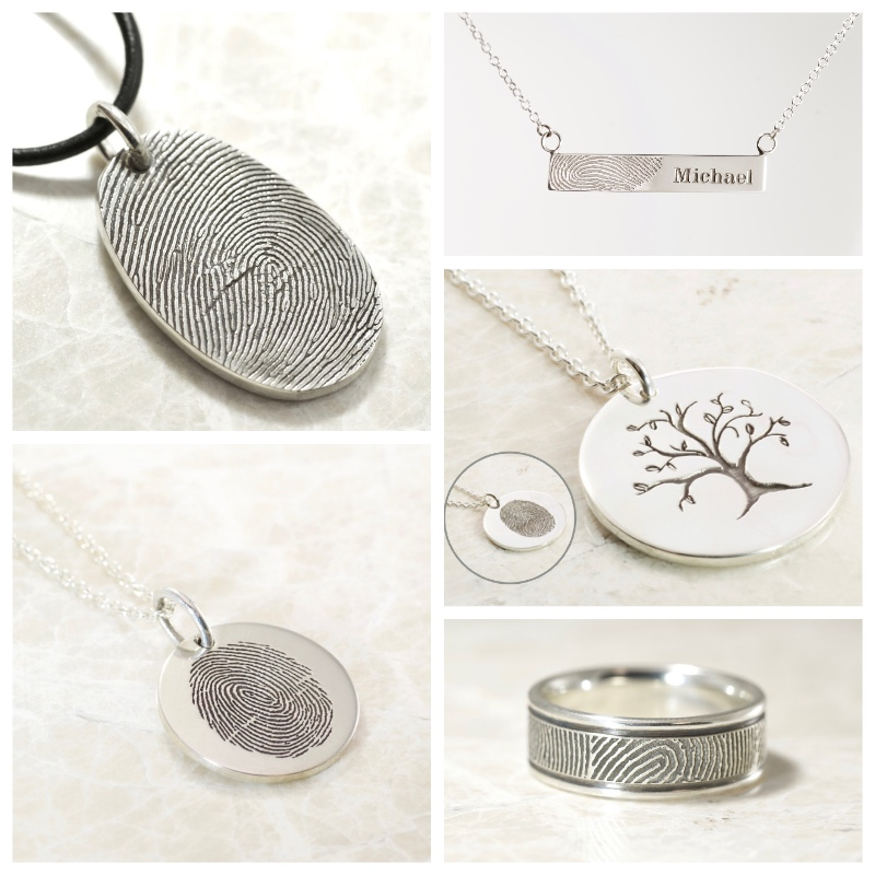 memorial fingerprint jewelry collage