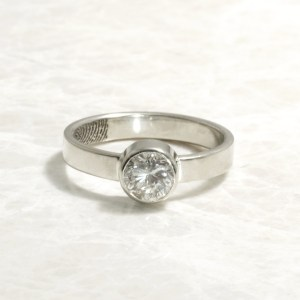Custom Bezel set white gold fingerprint engagement ring