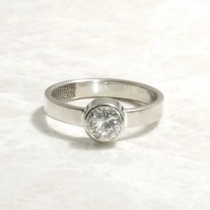 Custom Bezel set white gold fingerprint engagement ring
