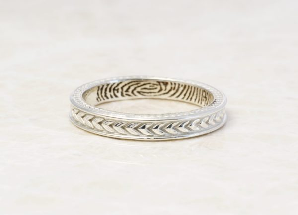 wheat pattern fingerprint ring