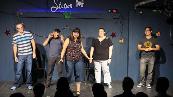Brent Stoller with his improv troupe at Station Theater in Houston