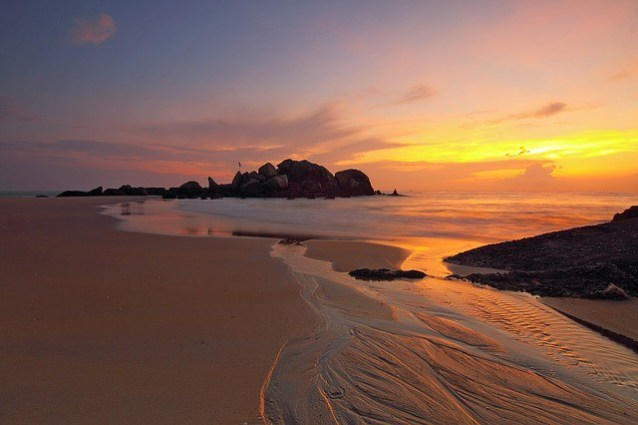 A beautiful beach at sunset