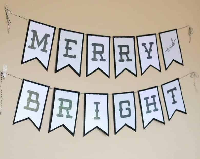 Use this free Merry and Bright Christmas banner printable with Core'dinations Glitter Prints for your chic Christmas decor