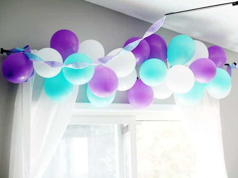 DIY balloon garland for birthday party decor