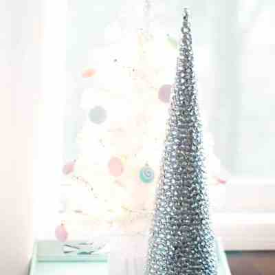 A Frugal Rhinestone Mini Christmas Tree DIY
