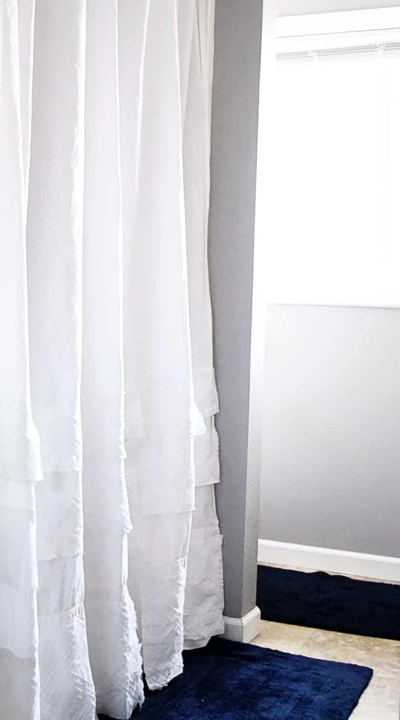 thrift store diy shower curtain
