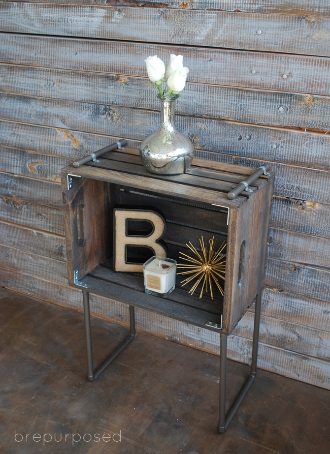 DIY Crate Pipe Industrial Table brepurposed