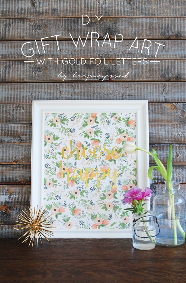 DIY Gift Wrap Art with Gold Foil Letters