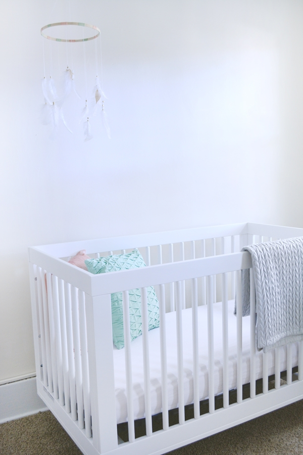 Modern Crib in Mint and Peach Nursery