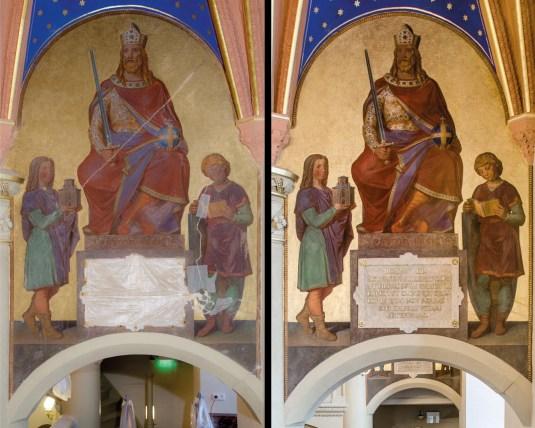 Schlosskirche Schwerin, Emporenmalerei. Links: Vorzustand. Rechts: Endzustand.