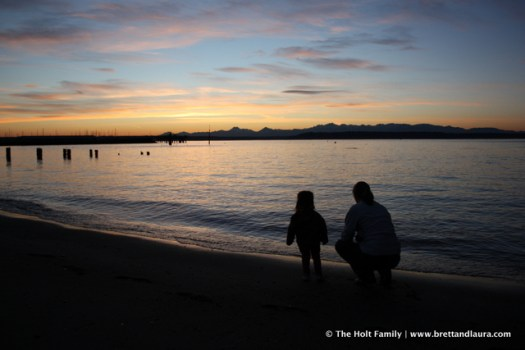 Sunset on the Olympic Mountains from Edmonds Beach