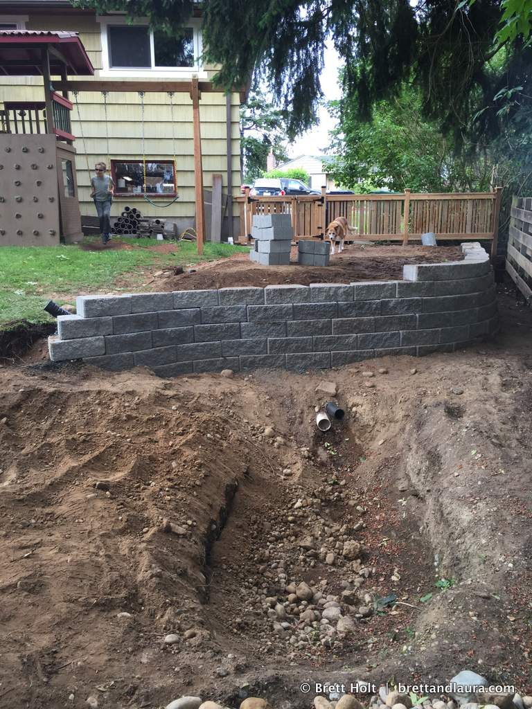 House project: Build rain garden, build 4 ft wall to level ground