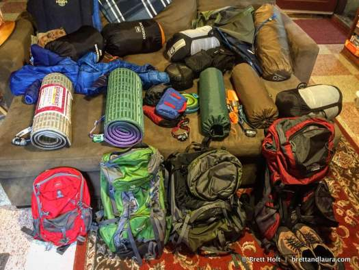 Preparing for our backpacking trip
